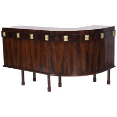Midcentury Brazilian Dry Bar with Rosewood Structure with Details in Brass, 60s
