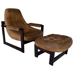 Midcentury Brazilian Lounge Chair by Percival Lafer with Ottoman heavy Patina