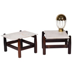 Móveis Cimo Midcentury Brazilian Side Table in Rosewood and Marble, 1950s