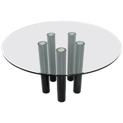 Midcentury 'Brentano' Glass Round Dining Table by Emaf Progetti for Zanotta 1980