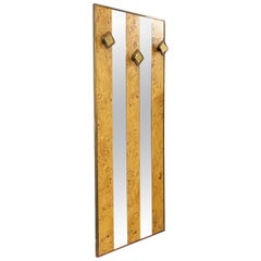 Midcentury Briarwood and Brass Italian Mirror Rack in the Style of Willy Rizzo