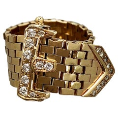 Midcentury Brick Style, Flexible Gold Buckle Ring with Diamonds