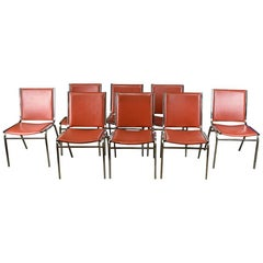 Midcentury Bright Red Chrome Dining Chairs, Set of 8