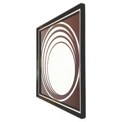 Midcentury British Burgundy Wall Mirror with Optical Effect after Verner Panton
