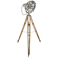 Midcentury British Cast Aluminium Industrial Light & Watts Bronze Tripod Tripod