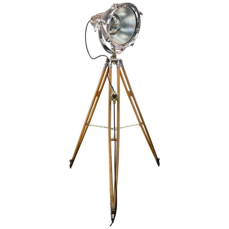 Midcentury British Cast Aluminium Industrial Light & Watts Bronze Tripod Tripod For Sale