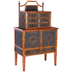 Midcentury British Colonial Faux Bamboo Chest on Chest