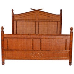 Midcentury British Colonial Style Faux Bamboo and Grasscloth Queen Bed