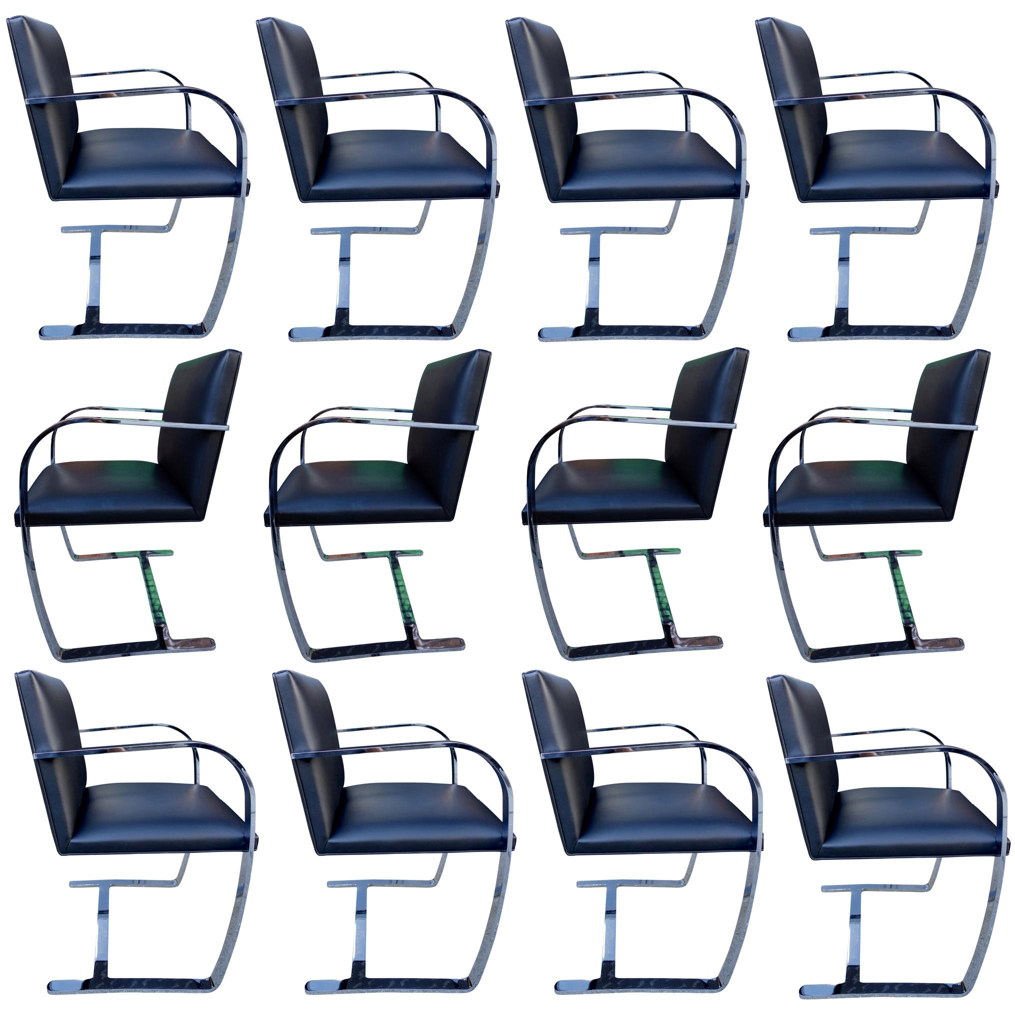 Authentic Midcentury Brno Armchairs for Knoll in Black Leather