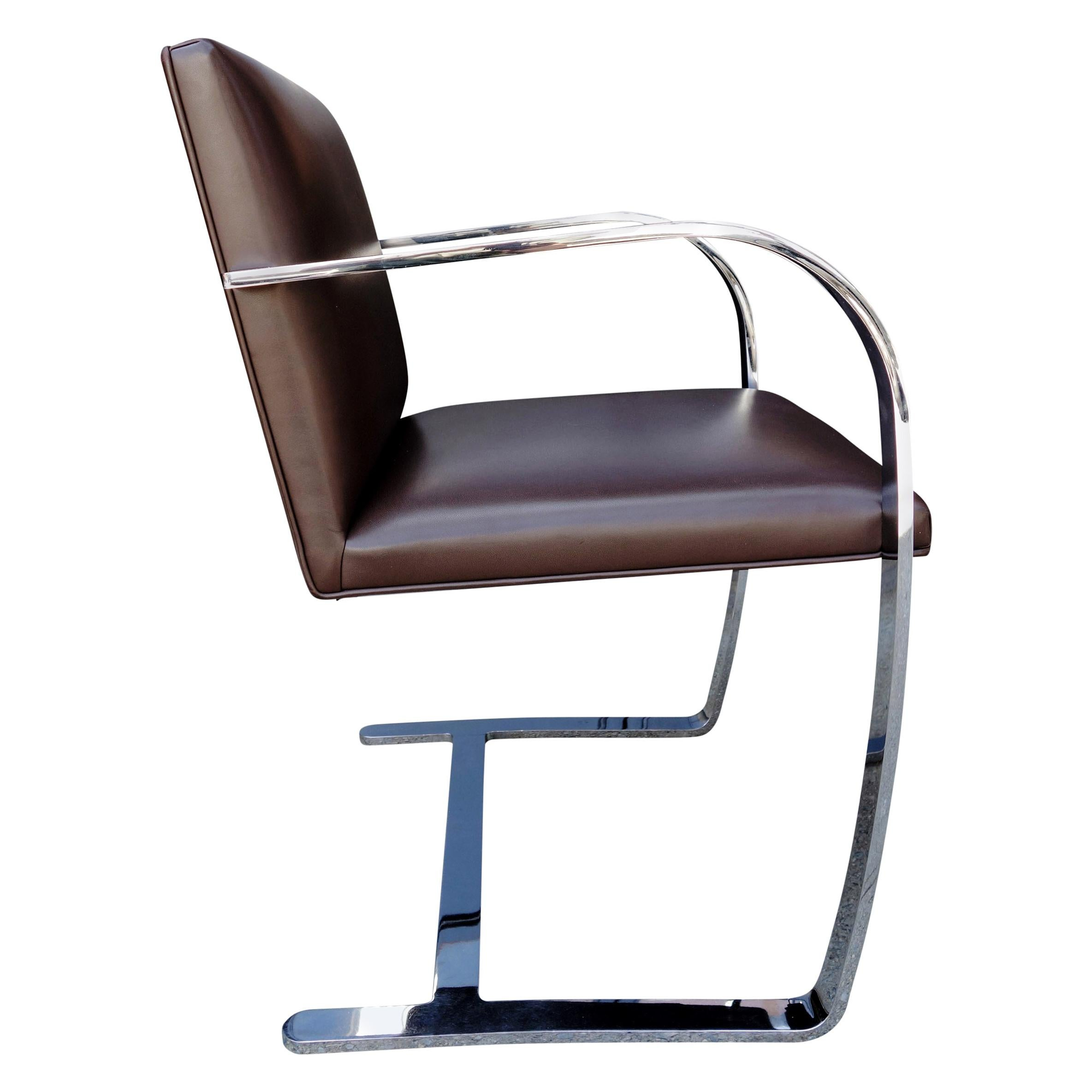 Authentic Midcentury Brno Armchairs for Knoll in Brown Leather