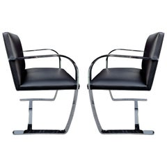 Midcentury Brno Armchairs for Knoll in Stainless Steel