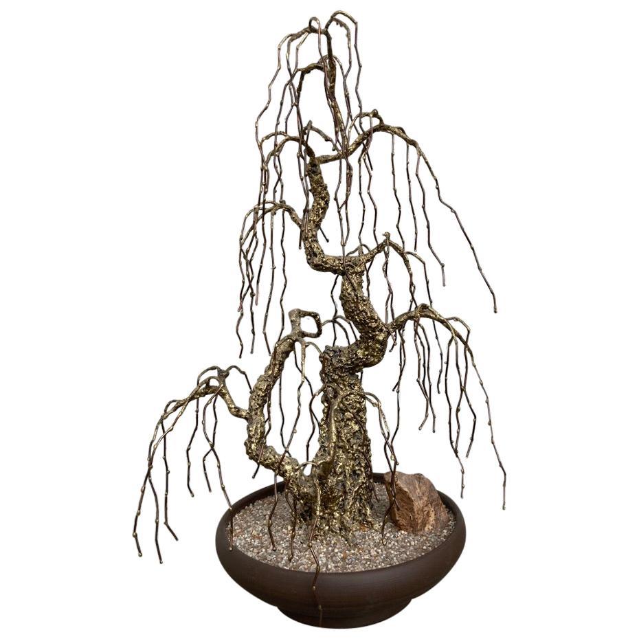 Midcentury Bronze Bonsai Tree Sculpture Signed P Marshall