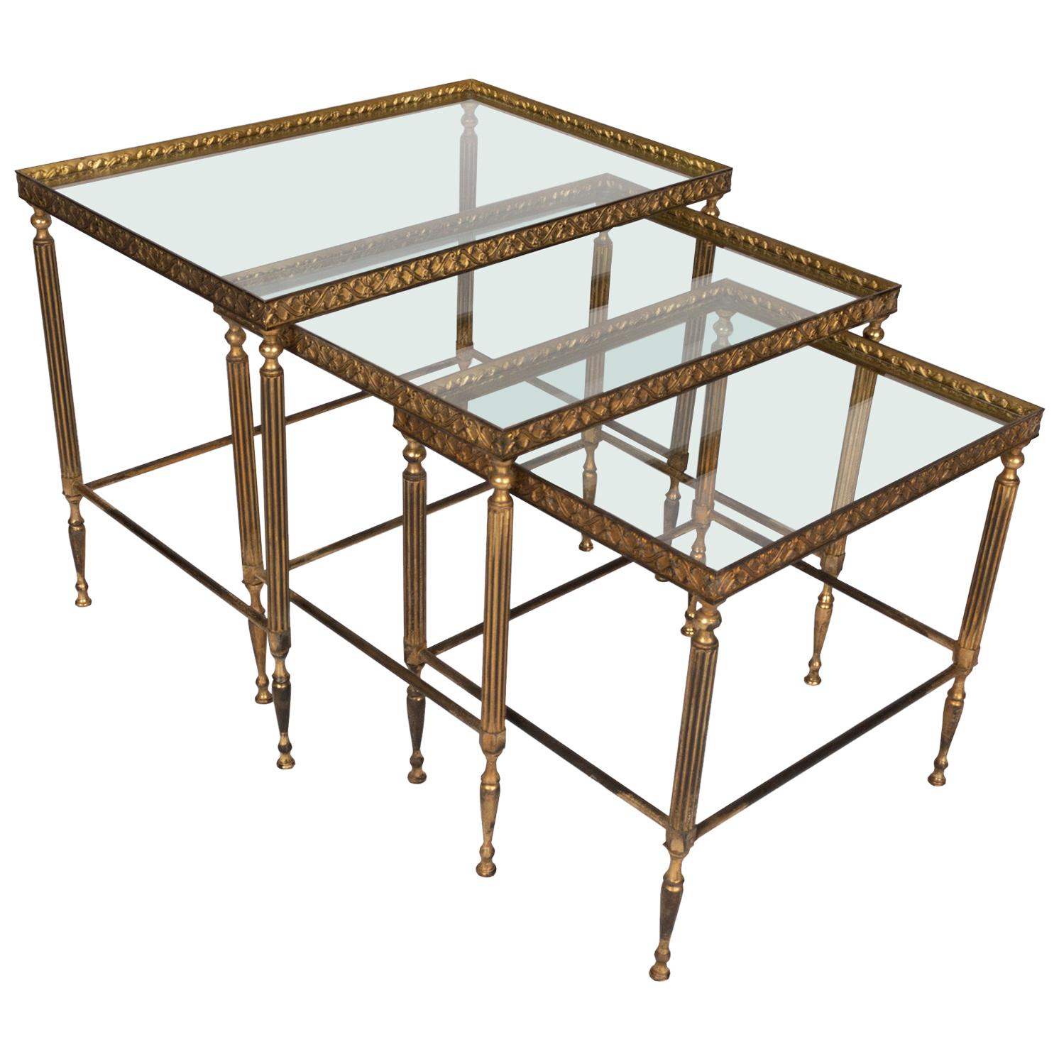 Midcentury Bronze Brass and Glass Nesting Tables by Maison Baguès, France