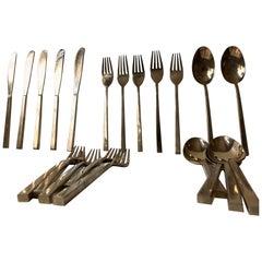 Midcentury Bronze Cutlery by Prince Sigvard Bernadotte, Scanline 1950s, 32 Pcs