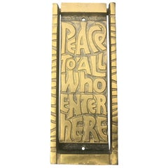 "Midcentury Bronze Door Knocker ""Peace to All Who Enter Here"", 1969"