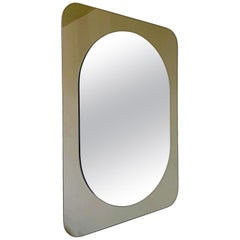 Midcentury Bronze Fontana Arte Style Crystal Glass Wall Mirror, 1960s, Austria