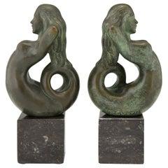Midcentury Bronze Mermaid Bookends Rene Cliquet, 1970