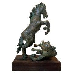 Midcentury Bronze Mustang Horse Sculpture