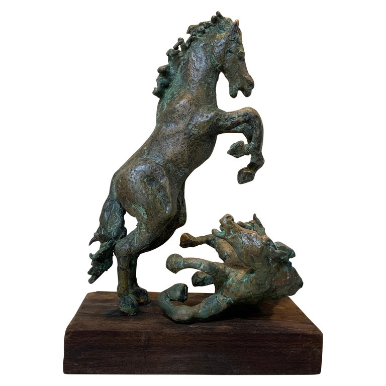 Midcentury Bronze Mustang Horse Sculpture For Sale