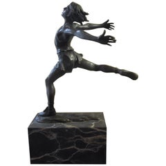 Midcentury Bronze of Male Runner with Marble Base
