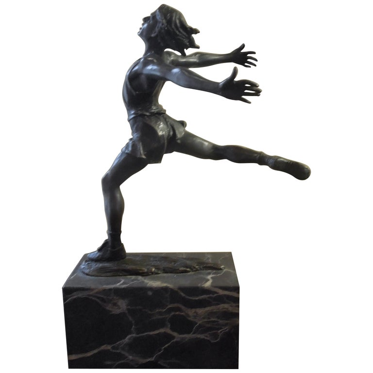 Midcentury Bronze of Male Runner with Marble Base For Sale