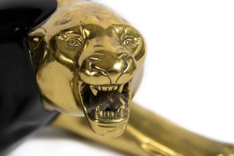 Italian Midcentury Bronze Panther Sculpture For Sale