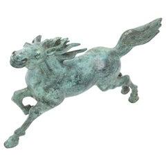 Midcentury Bronze Running Horse Statue