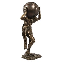 Midcentury Bronze Sculpture of Atlas Holding Globe Banded with Zodiac Symbols
