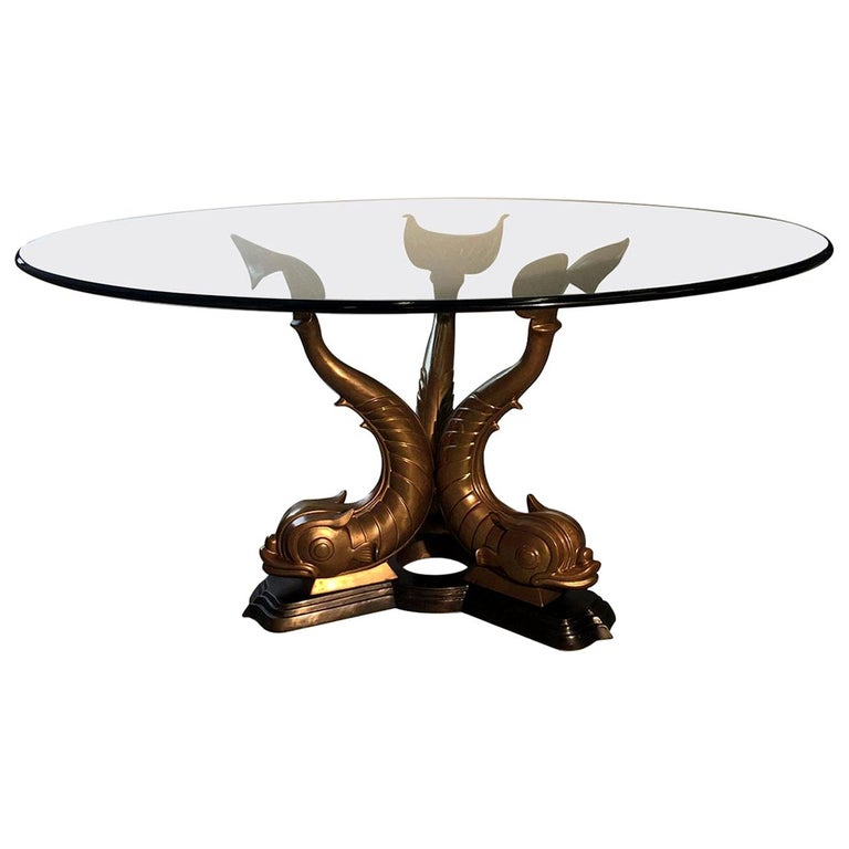 Midcentury Bronze Triple Dolphin Base Glass Top Table For Sale