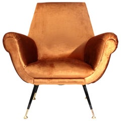 Midcentury Bronze Velvet Italian Armchair, 1960s