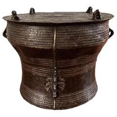 Midcentury Bronzed Cast Resin Sirmos Rain Drum Side Table