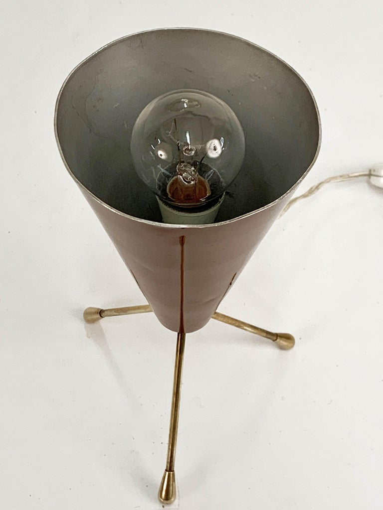 20th Century Midcentury Brown and Brass Lacquered Metal Conical Tripod Table Lamp Italy 1950s For Sale