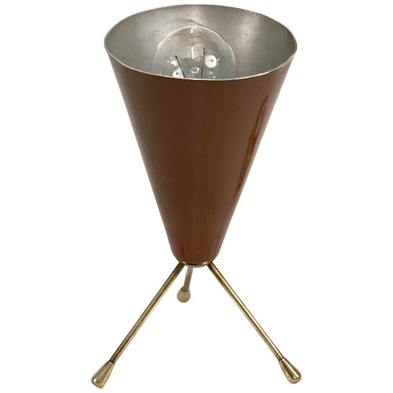 Midcentury Brown and Brass Lacquered Metal Conical Tripod Table Lamp Italy 1950s For Sale