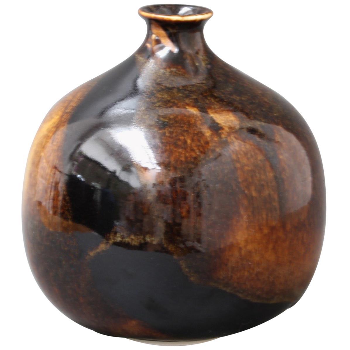 Midcentury Brown Ceramic Flower Vase, circa 1960s