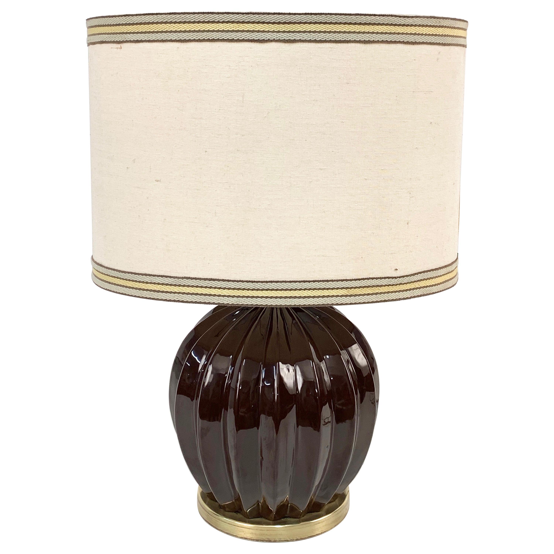 Midcentury Brown Ceramic Glazed Italian Table Lamp Tommaso Barbi Style, 1970s