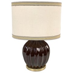 Midcentury Brown Ceramic Glazed Italian Table Lamp Tommaso Barbi Style, 1970s