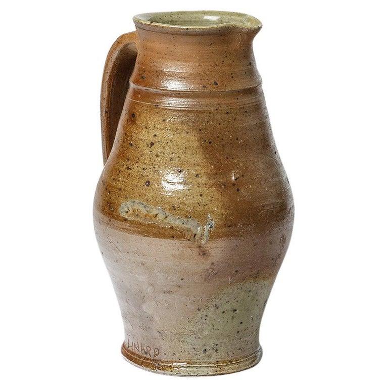 Midcentury Brown Ceramic Pitcher by Jean Linard La Borne, 1975 For Sale