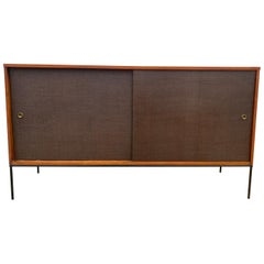 Midcentury Brown Cloth Door Credenza Paul McCobb Planner Group #1514 Iron Base