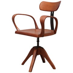 Midcentury Brown Color Italian Swivel Chair, 1960