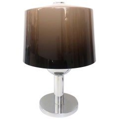 Midcentury brown Degradé Lucite and chromed Huge Table Lamp by Lumica, 1970s