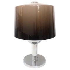 Midcentury Brown Degradé Lucite and Chromed Table Lamp by Lumica, 1970s