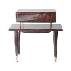 Midcentury Brown Ebony Wood Brass Bedside Tables, France, 1950