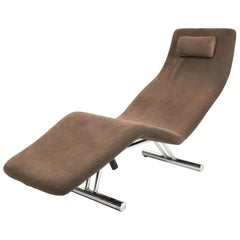 Midcentury Brown Fabric and Chrome Steel Chaise Longue, Paul Tuttle Style, 1980s