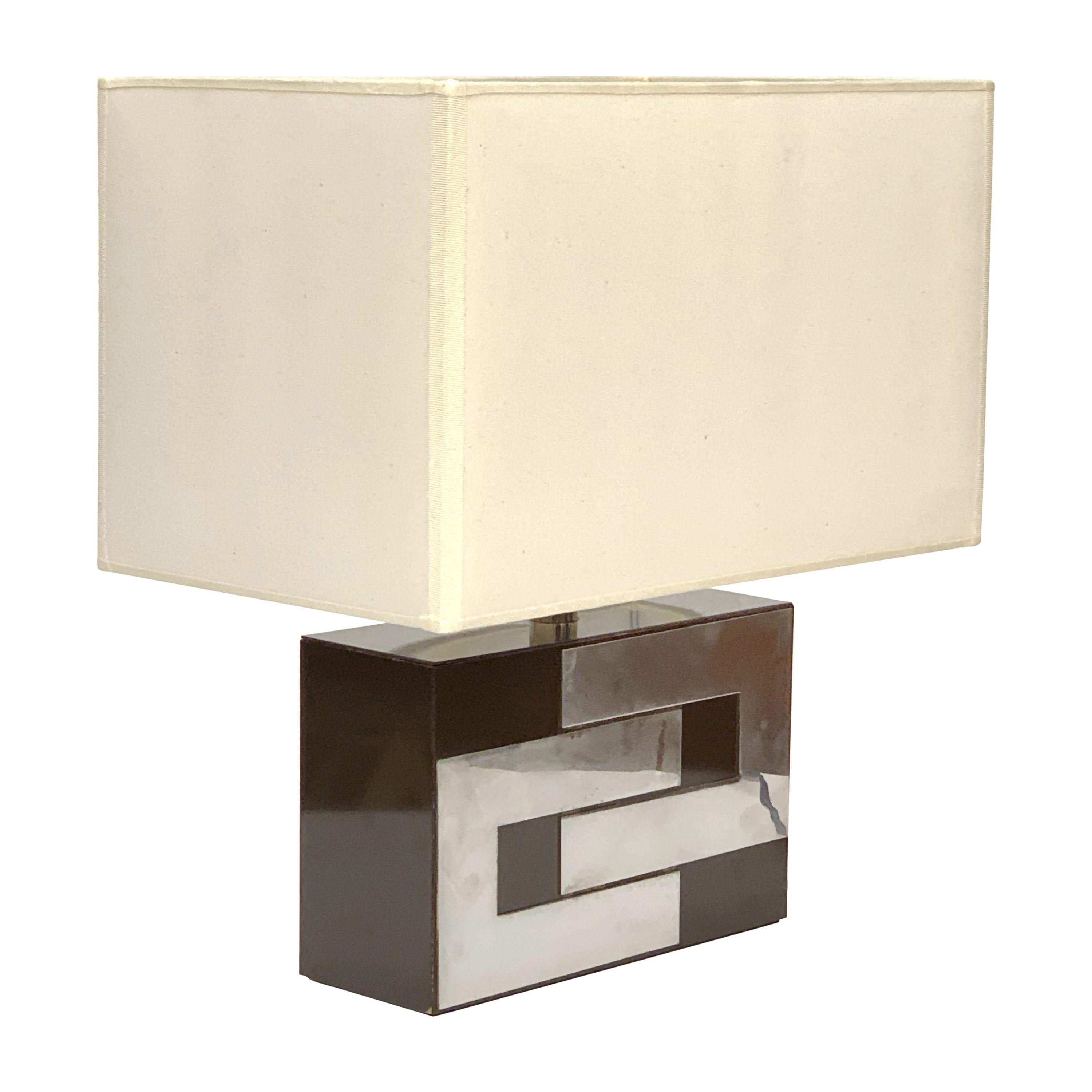 Midcentury Brown Formica and Chrome French Table Lamp in Willy Rizzo Style 1970s
