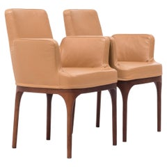 Midcentury Brown Leather Dining Chairs by Porada, Set of 2