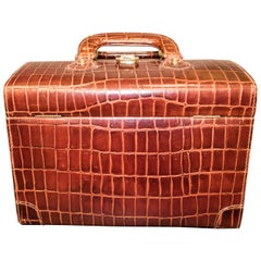 Midcentury Brown Leather Italy MarCo Tadini Vanitycase Snake Effect