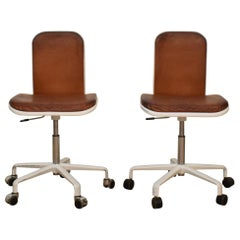 Midcentury Brown Leather Supporto Office Chairs by Fred Scott for Hille, 1980