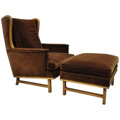Midcentury Brown Mohair Edward Wormley Style Wingback Lounge Chair & Ottoman