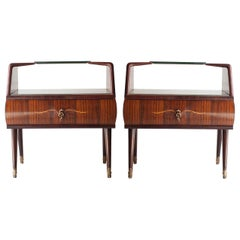 Midcentury Brown Opaline Glass Italian Pair of Bedside Tables, 1950