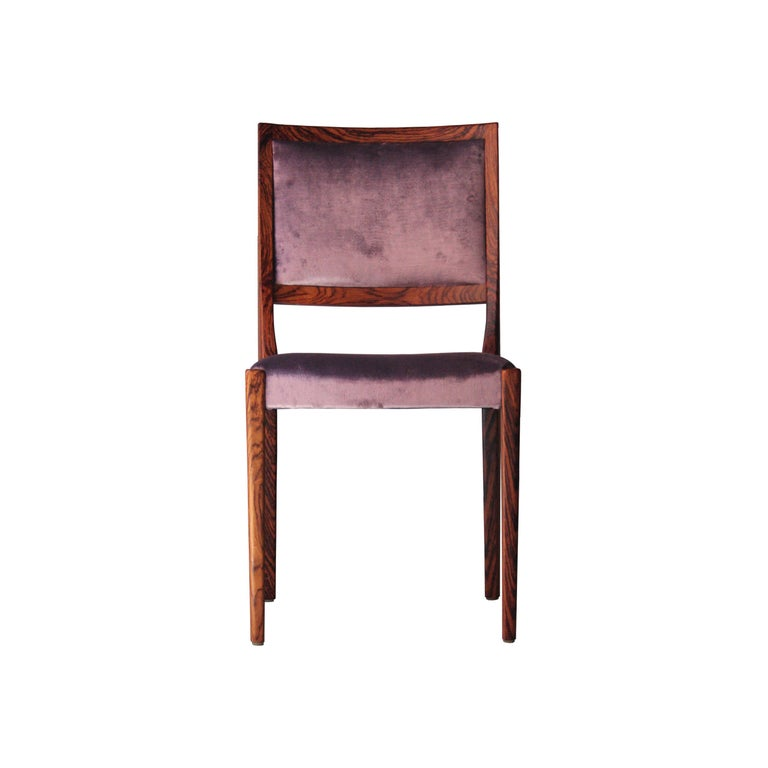 Swedish Midcentury Brown Purple Velvet Set of Four Chairs, Sweden, 1960 For Sale